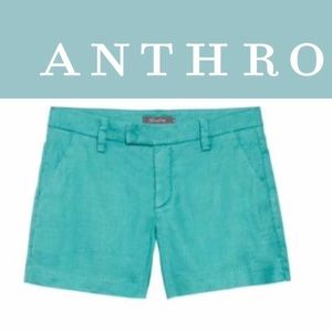 Anthro Level 99 Cindie teal green shorts